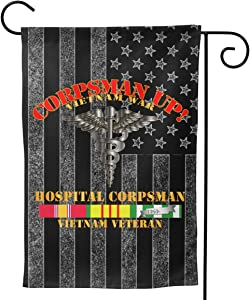 "Navy Corpsman Up Vietnam Veteran SVC Welcome Yard Garden Flag Banners for Patio Lawn Outdoor Home Decor 12.5""x18"""