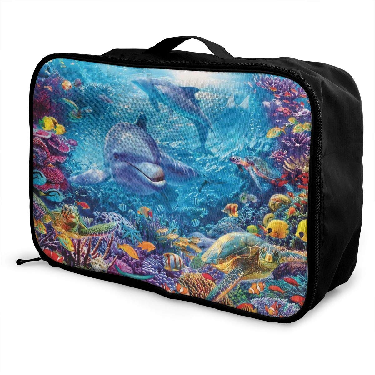 Magnificent Underwater World Dolphin Turtle Travel Lightweight Waterproof Foldable Storage Portable Luggage Duffle Tote Bag Large Capacity In Trolley Handle Bags 6x11x15 Inch