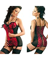 Modes Womens See-through Lace Up Corset Bustiers Wire Lingerie G-string + Garters Set