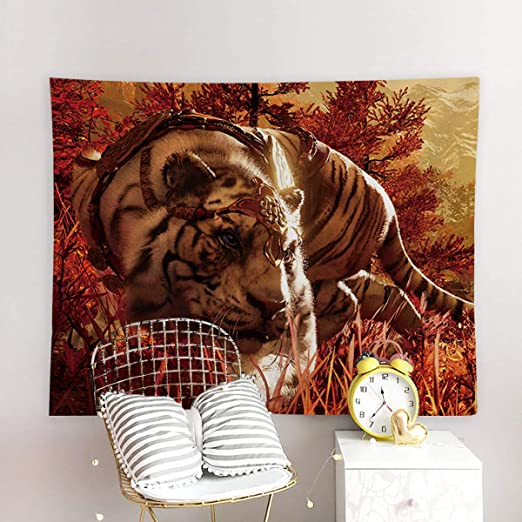 King Of Tiger Wall Hanging Tapestry Bedspread Throw Cover Mat Blanket Modern Art