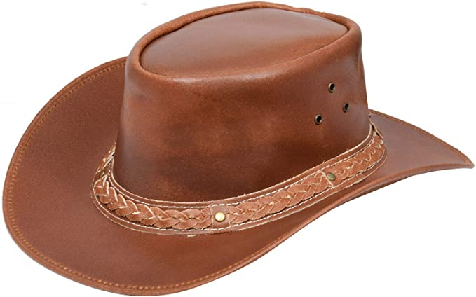 Leather Down Under HAT Aussie Bush Cowboy Style Classic Western Outback Brown//Black