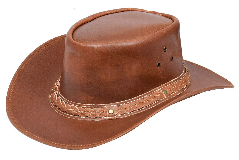 Australian Tan Western Style Cowboy Outback Real Leather Aussie Bush Hat