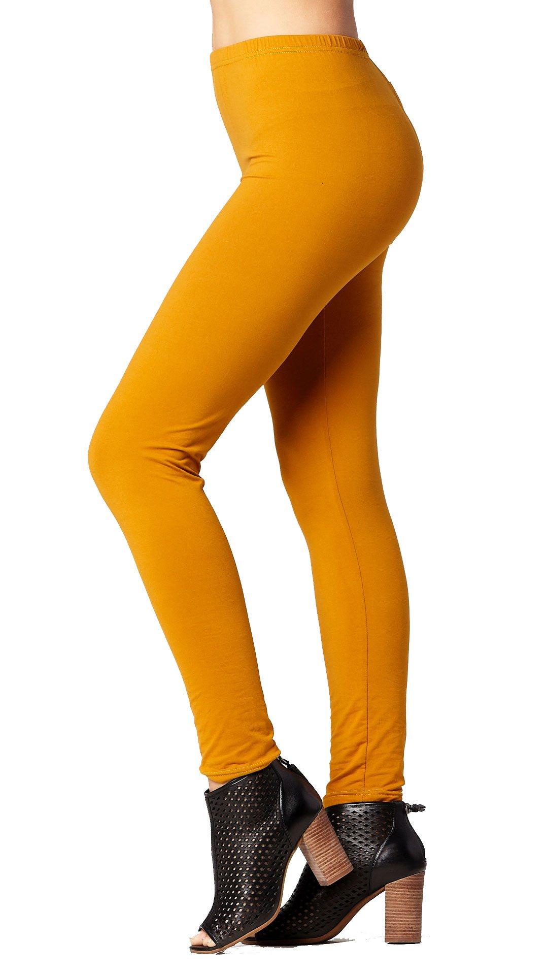 Premium Ultra Soft High Waist Leggings for Women - Mustard - Large/X-Large