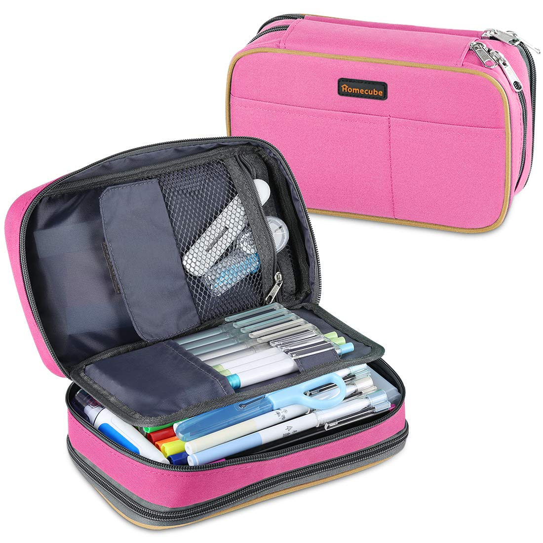 """Homecube Pencil Case Big Capacity Storage Pen Bag Makeup Pouch Durable Students Stationery Two Big Pockets With Double Zipper- 8.7x6x3.2""""- Rose Red"""
