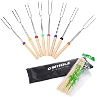 GWHOLE 8 Pcs Extendable Marshmallow Sticks BBQ Forks