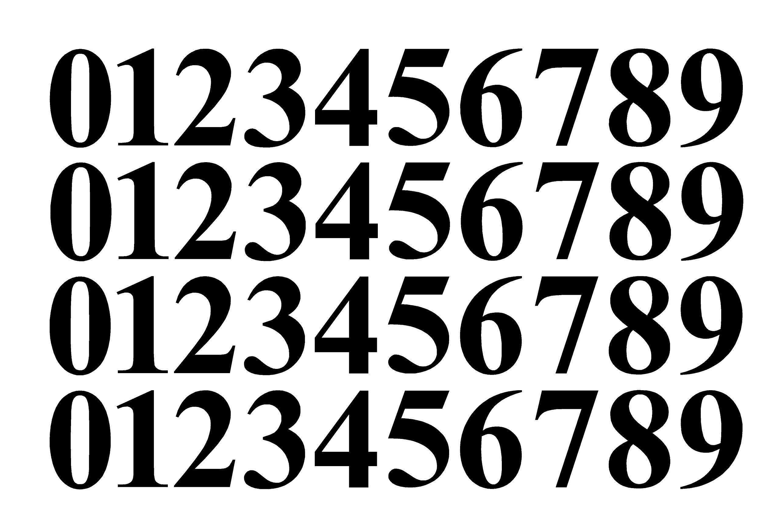 Five Star Graphics 0-9 Numbers Matte Black Vinyl Sticker Decals Assorted Set of 40 Choose Size!! 1/2'' to 12'' (V646MatteBlkTimes) (10'')