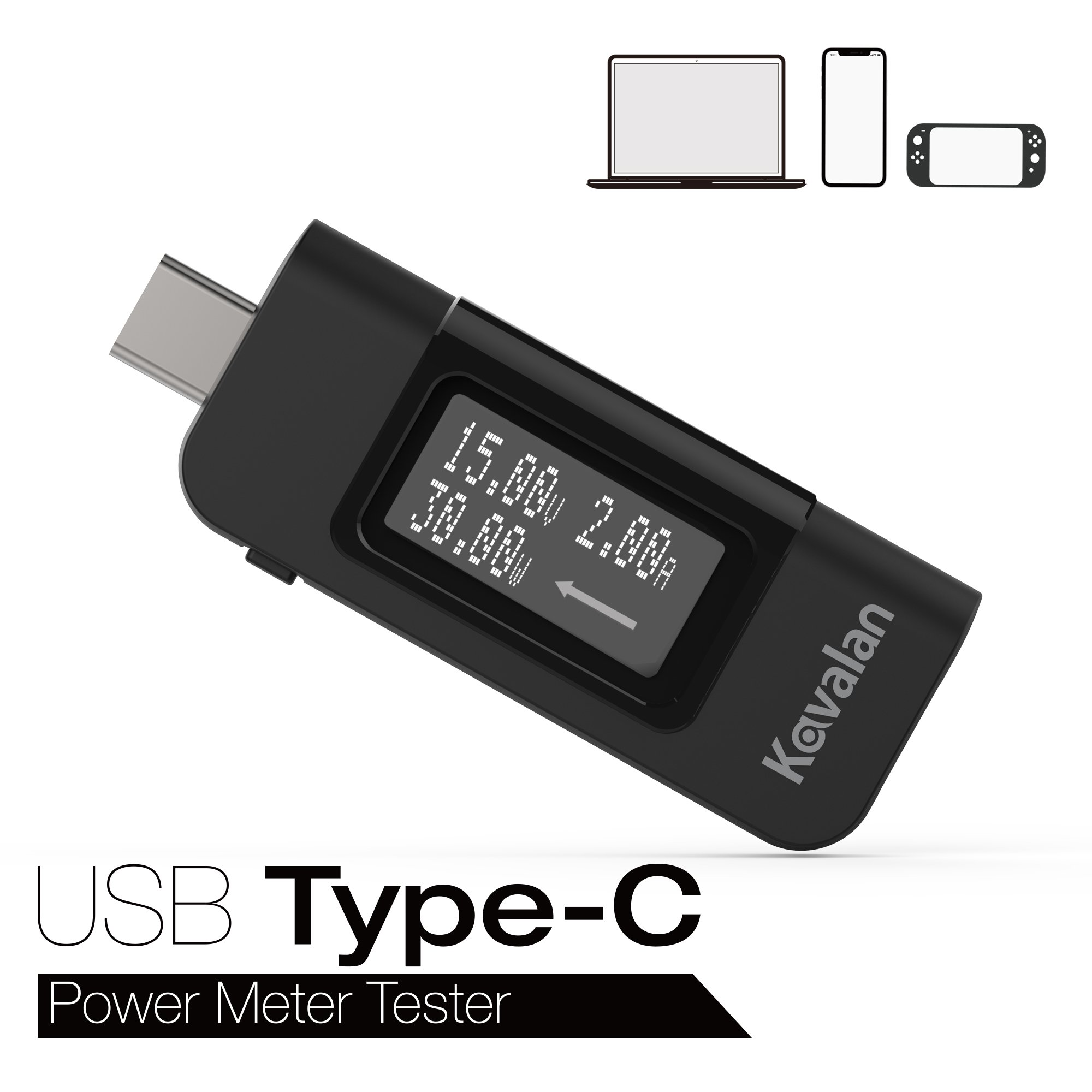 Kavalan USB Type-C Power Meter, Multimeter Charging Tester Monitor Volts, Amps and Watts, Bi-direction Indicator with Display Flip Button for New MacBook Pro, MacBook & any Type C Devices & Chargers