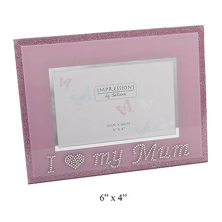 I Love My Mum Pink Glass Photo Frame With Diamantes - 6\