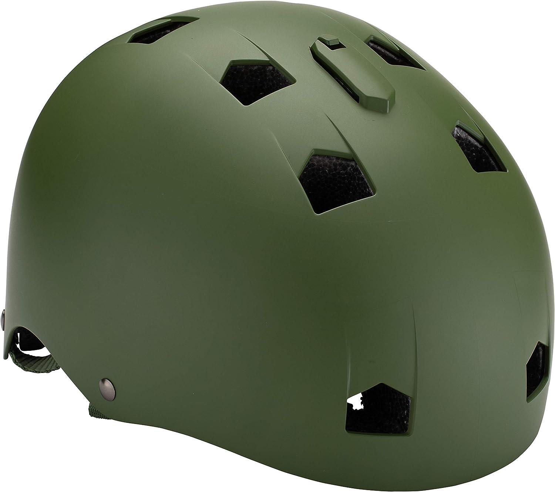 Mongoose BMX Bike Helmet, Multi Sport Kids Helmet, Matte Army Green, Youth