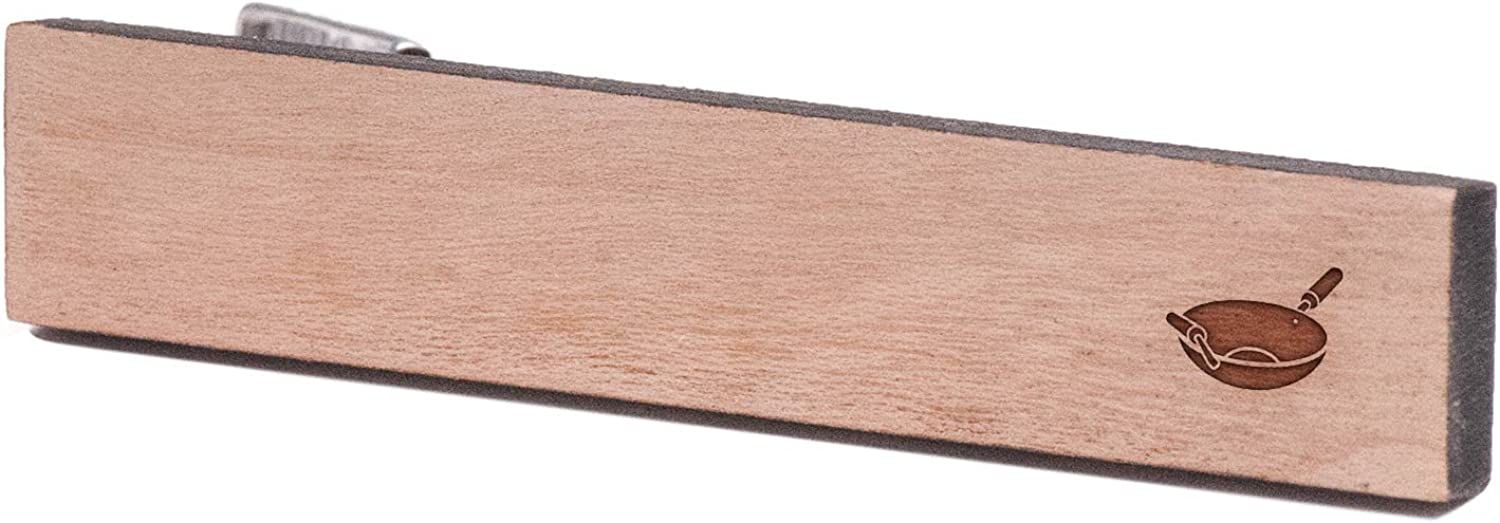 Wooden Accessories Company Wooden Tie Clips with Laser Engraved Wok Design Cherry Wood Tie Bar Engraved in The USA