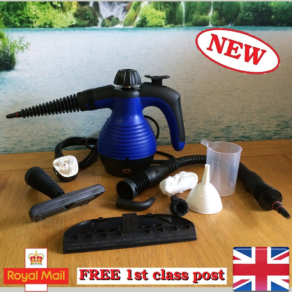 Electric Handheld Steam Cleaner Portable Hand Held Powerful Steamer Cleaning Set with accessories 48h courier MarkUK (Blue, steam cleaner)