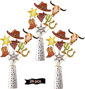 Kauayurk Western Cowboy Party Decorations Centerpiece Sticks, 25Pcs Western Theme Table Topper Supplies, Wild West Cowboy Theme Birthday Table Decor Sign Photo Booth Props