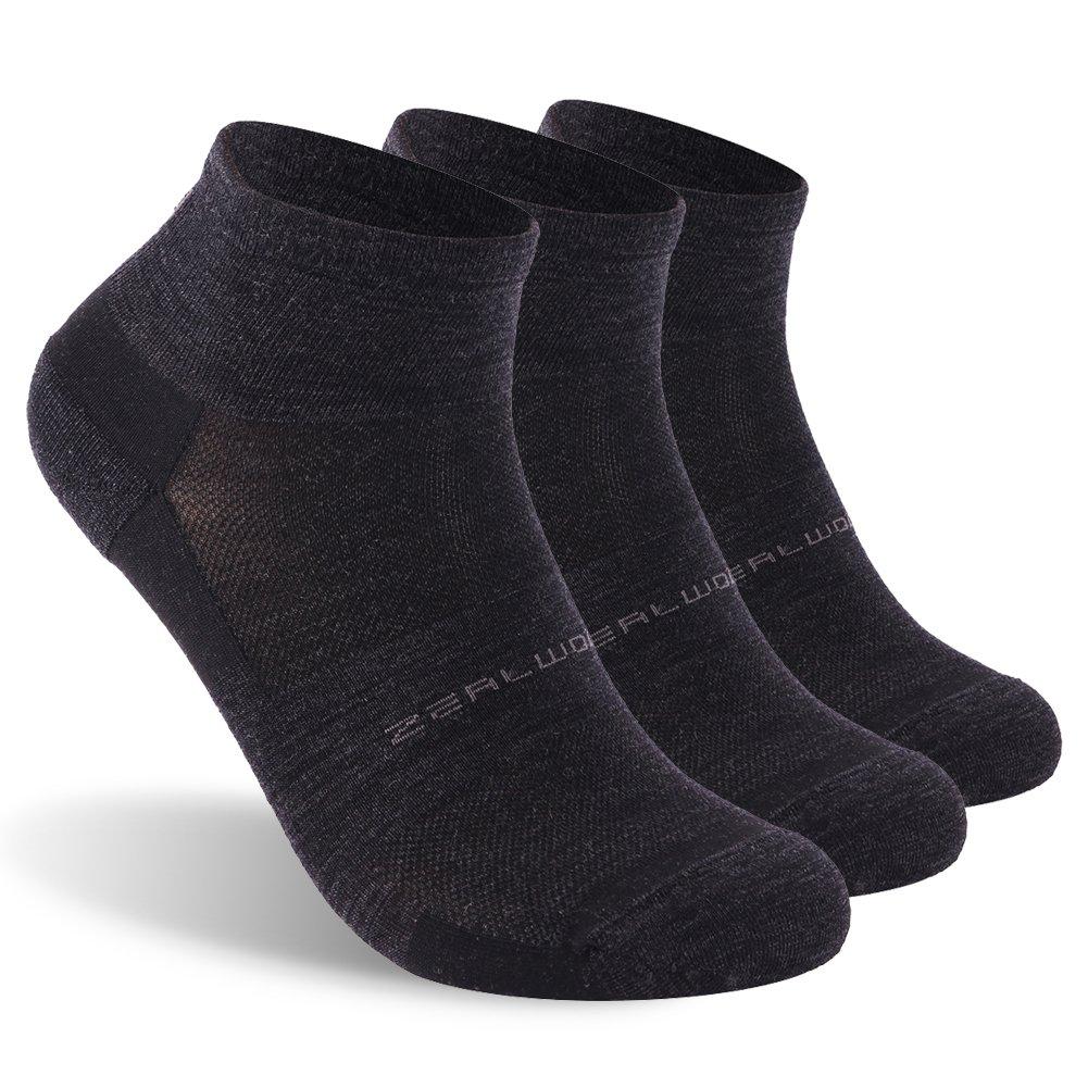 Low Cut Running Socks, ZEALWOOD Women Merino Wool Antibacterial Socks Ultra-Comfortable Cycling Training Socks Anti-Blister Moisture Wicking Socks,3 Pairs-Black,Small