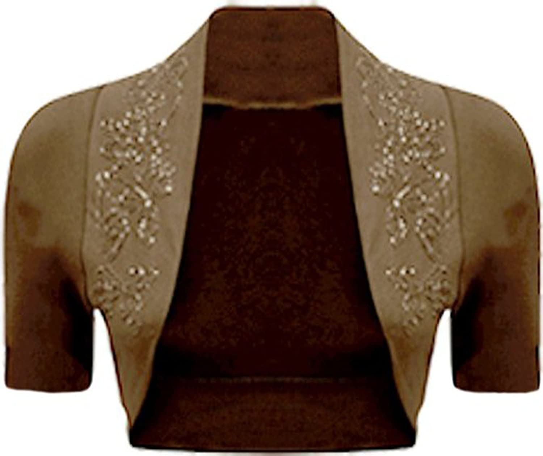 Fashion charming-Women Cap Sleeve Floral Beaded Sequin Design Print Bolero Shrug Cardigan Top
