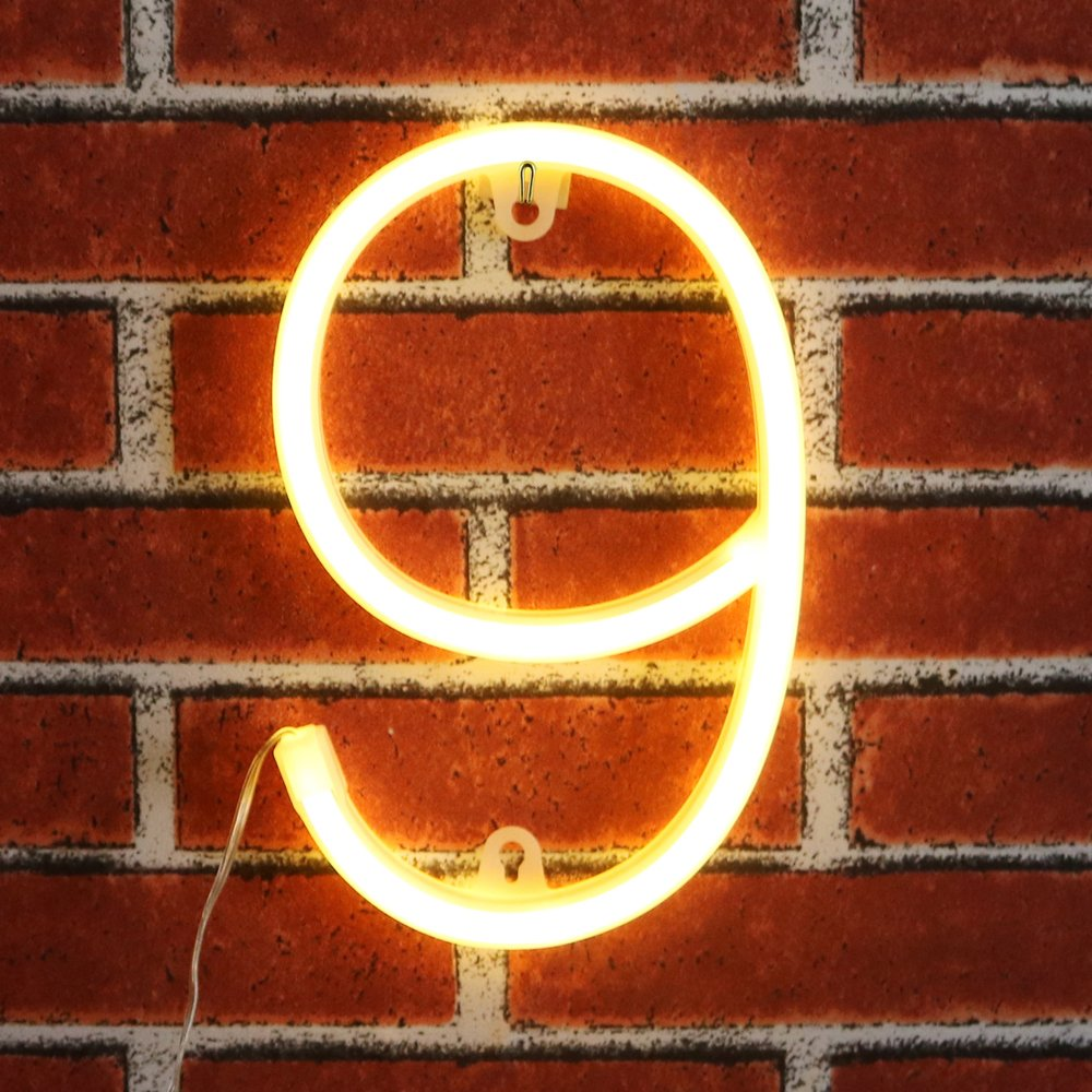 Neon Number Sign Wall Decorative Neon Lights Warm White Alphabet Letter Lights Night Lamp for House Bar Pub Hotel Beach Recreational, Kids Room, Living Room, Birthday Wedding Party Decor - 9 (Nine)