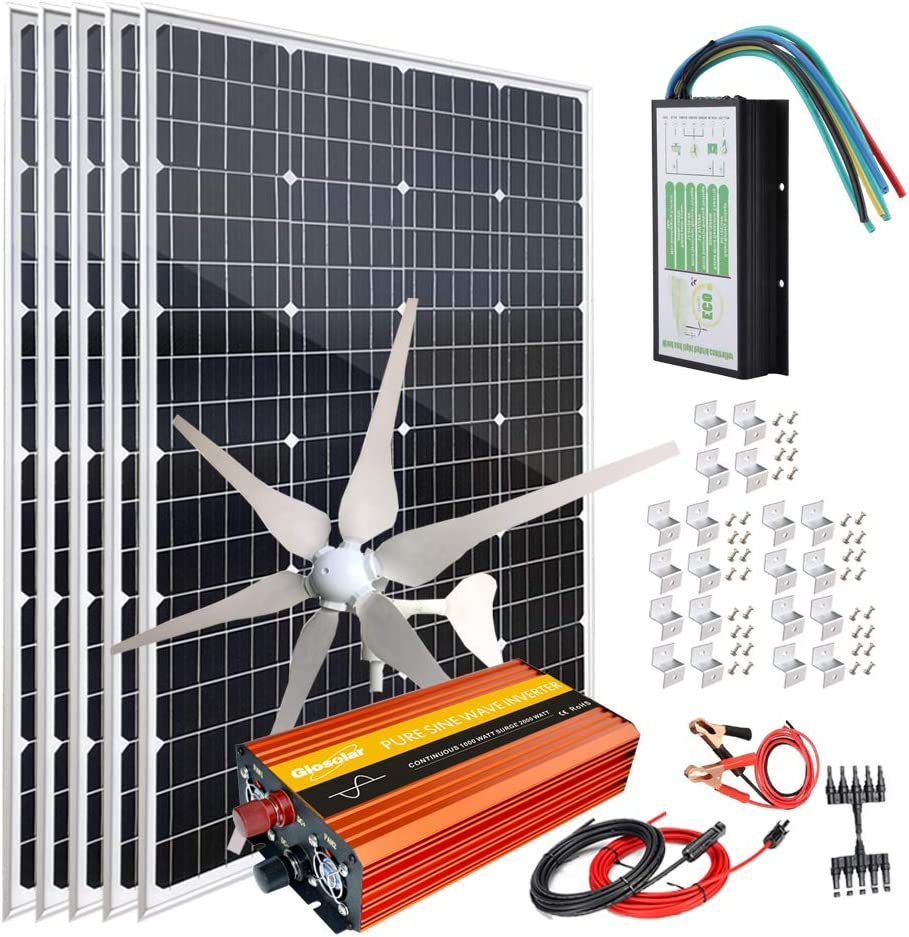 900W(1000W) Solar Wind Power Kits Home Off-Grid System for Charging 12V 24V Battery:400W Wind Turbine Generator + 500W Mono Solar Panel + Hybrid Charge Controller+1000W Inverter+Accessory