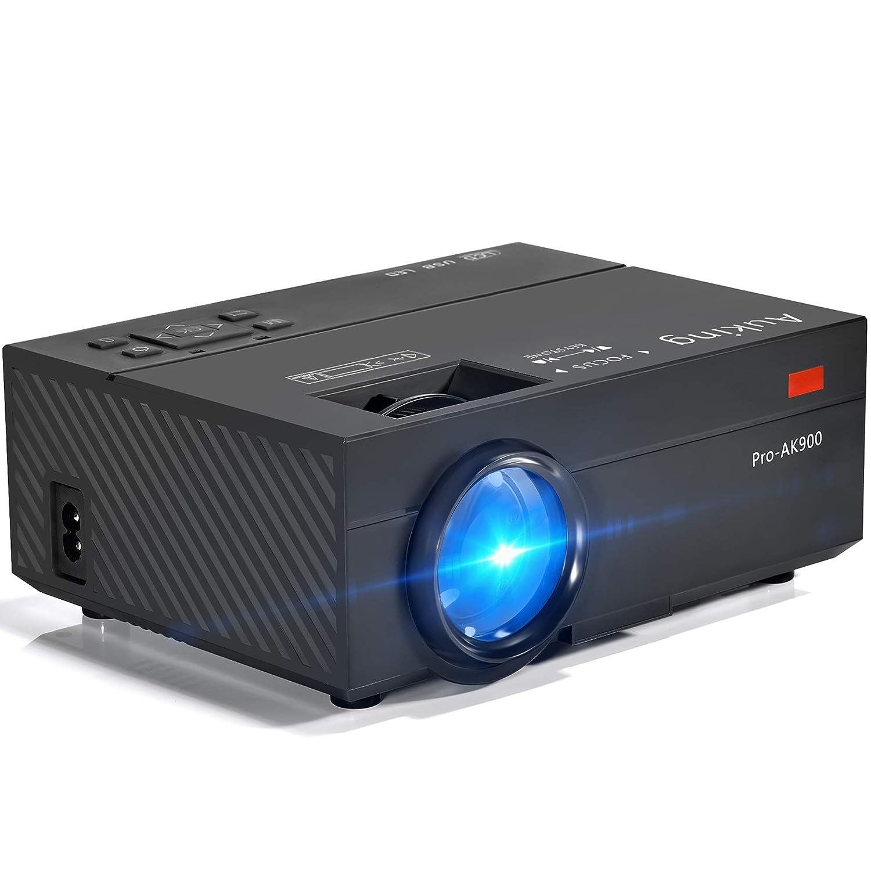 AuKing Mini-Projektor, 2500 Lumen Projektor, tragbarer Retroprojektor, 55000 Stunden Multimedia-Heimkino-Projektor, kompatibel mit  Fire TV-Stick, Full HD 1080P