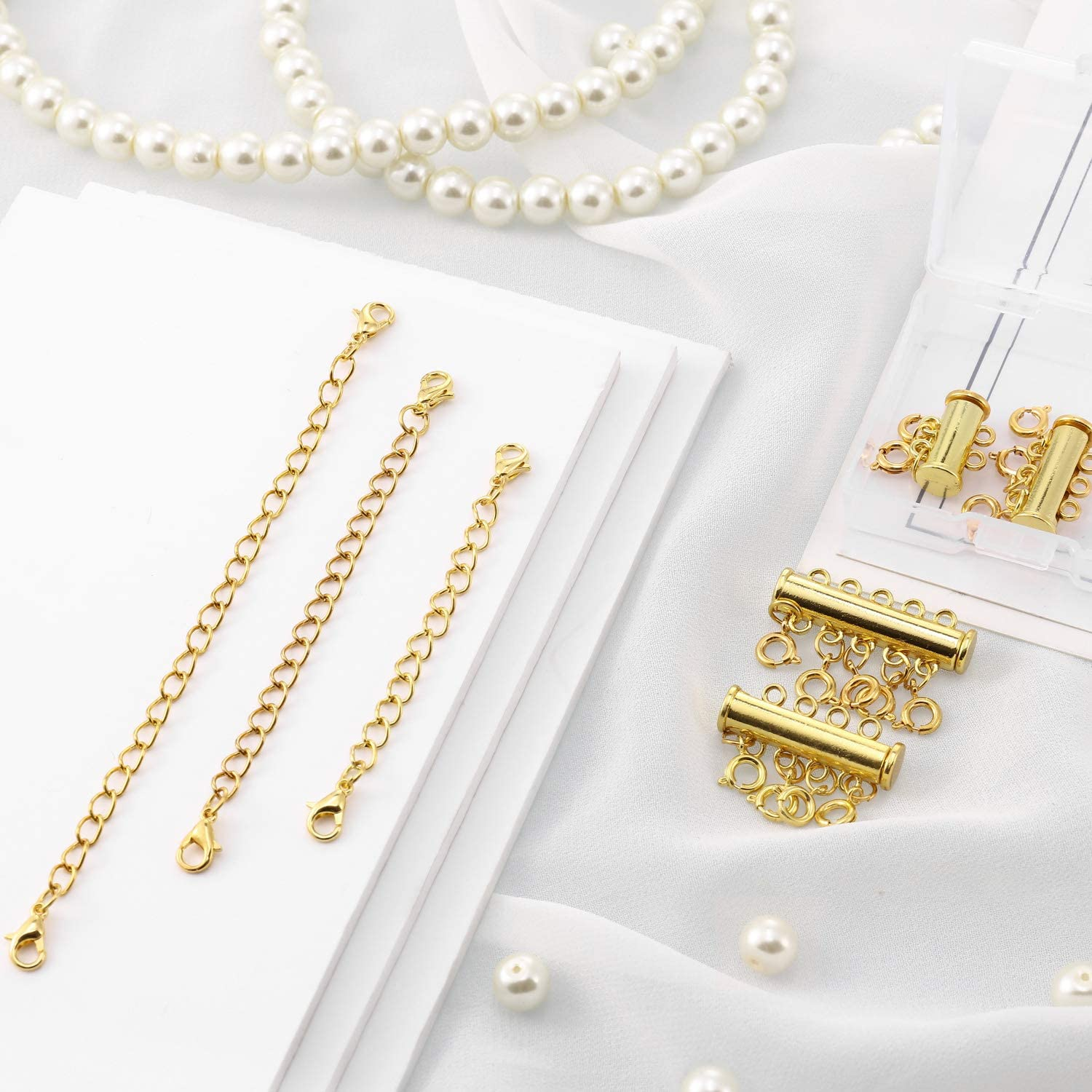 14 Pieces 4 Sizes Slide Magnetic Clasp Connectors Tube Multi Strands Clasps and Necklace Bracelet Chain Extenders with Storage Box Silver
