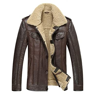 Leather Jacket Men Shearling Coat Mens Sheepskin Fur Coat Pilot