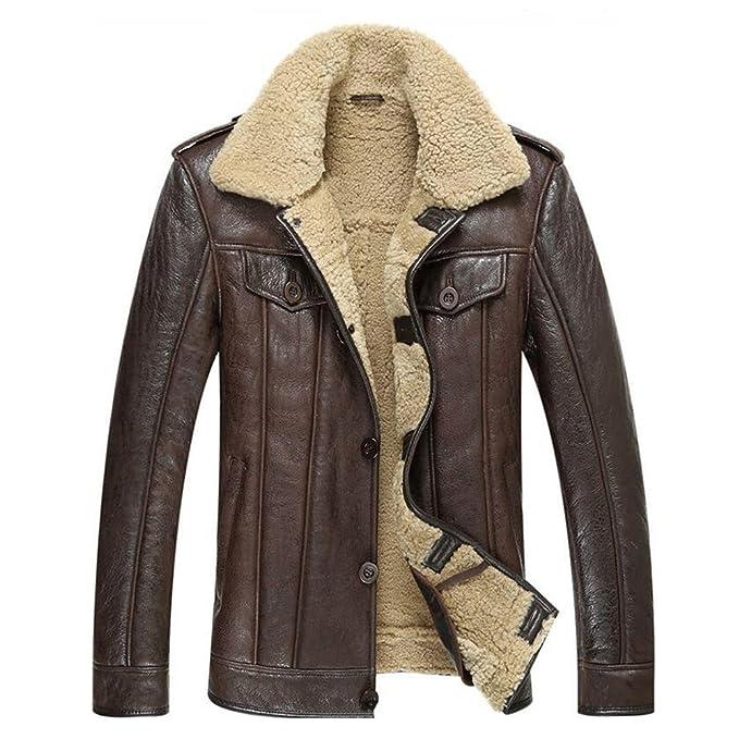 953245d3b5e3 LINAILIN Leather Jacket Men Shearling Coat Fashion Slim Genuine Leather  Outerwear (XS