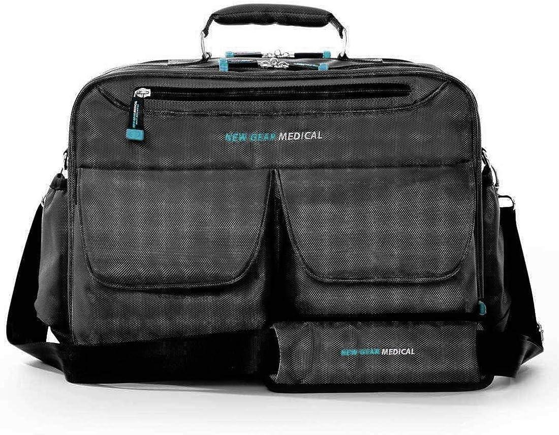 New Gear Medical Antimicrobial Messenger Bag, For Home Health, Nurse, travel, CNA, and Medical Professionals (Black)