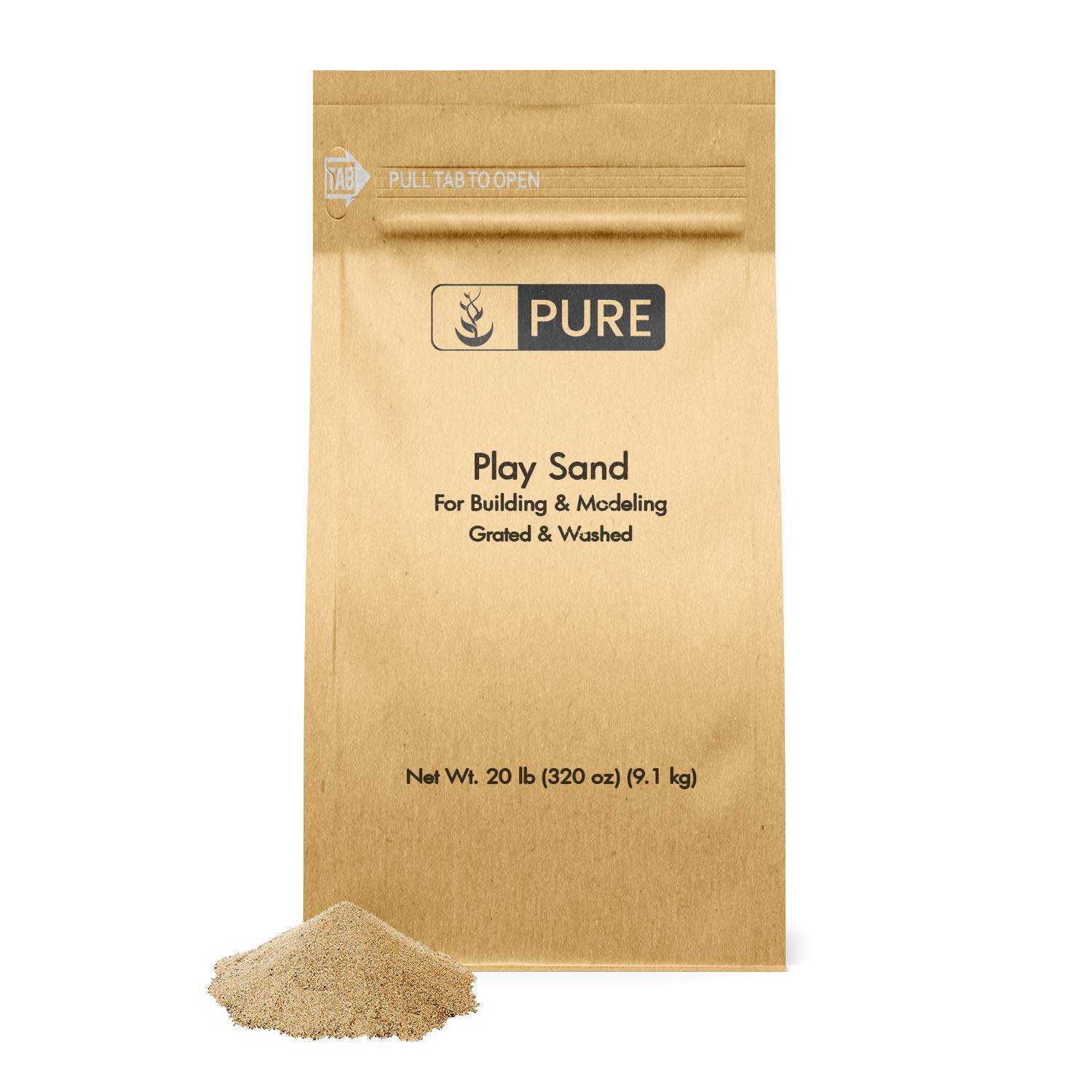 Play Sand (20 lbs) by Pure Organic Ingredients, Eco-Friendly Packaging, Highest Quality, Building & Molding, Promotes Creativity, Sandbox & Play Areas, Indoor/Outdoor