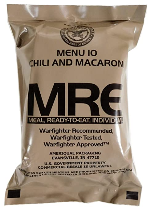 Amazon.com : Chili and Macaroni MRE Meal - Genuine US Military Surplus Inspection Date 2020 and Up : Grocery & Gourmet Food