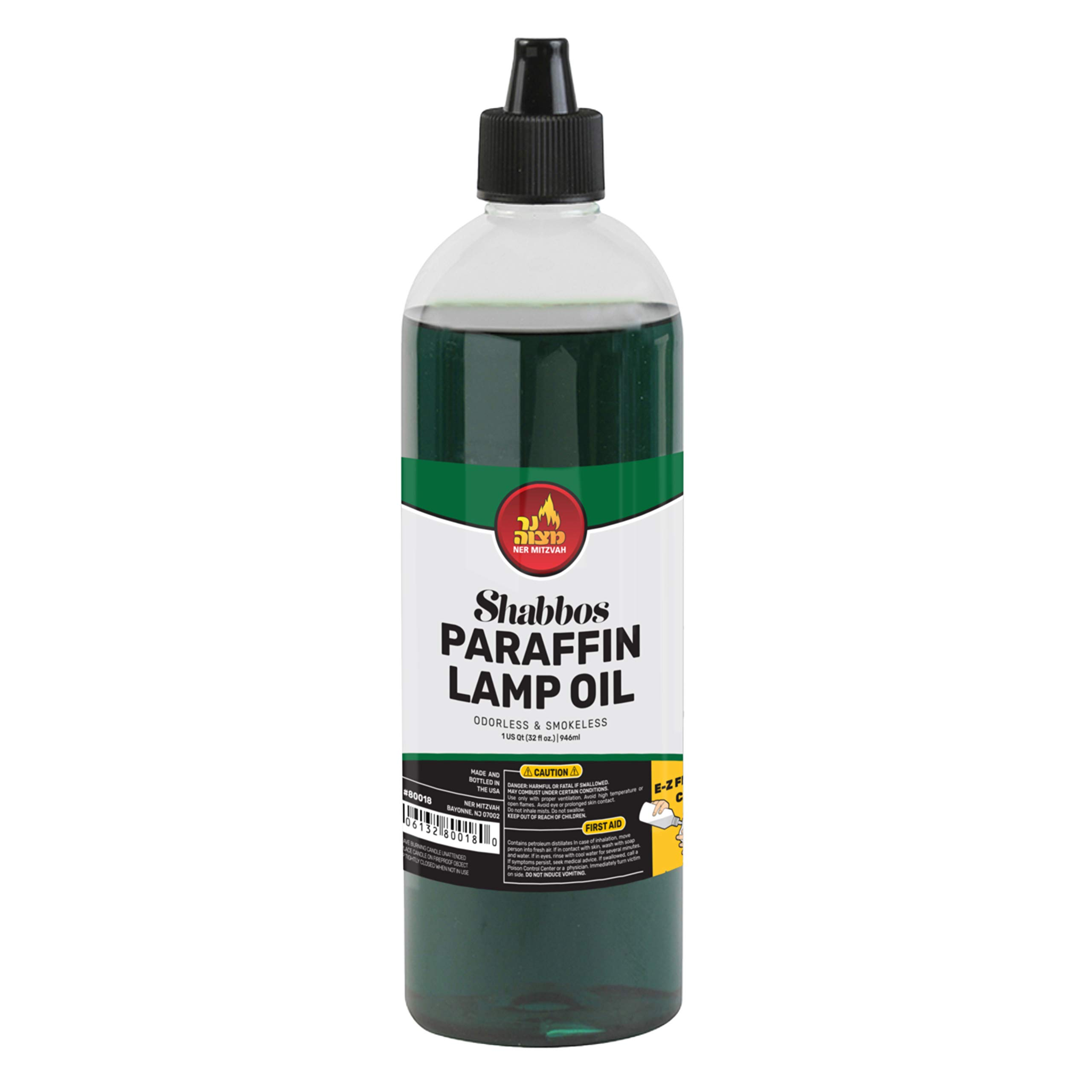 Paraffin Lamp Oil - Green Smokeless, Odorless, Clean Burning Fuel for Indoor and Outdoor Use with E-Z Fill Cap and Pouring Spout - 32oz - by Ner Mitzvah by Ner Mitzvah
