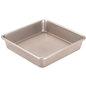 CHEFMADE Standard Cake Pan, 9-Inch Non-Stick Square Deep Dish Bakeware, FDA Approved for Oven Baking (Champagne Gold)