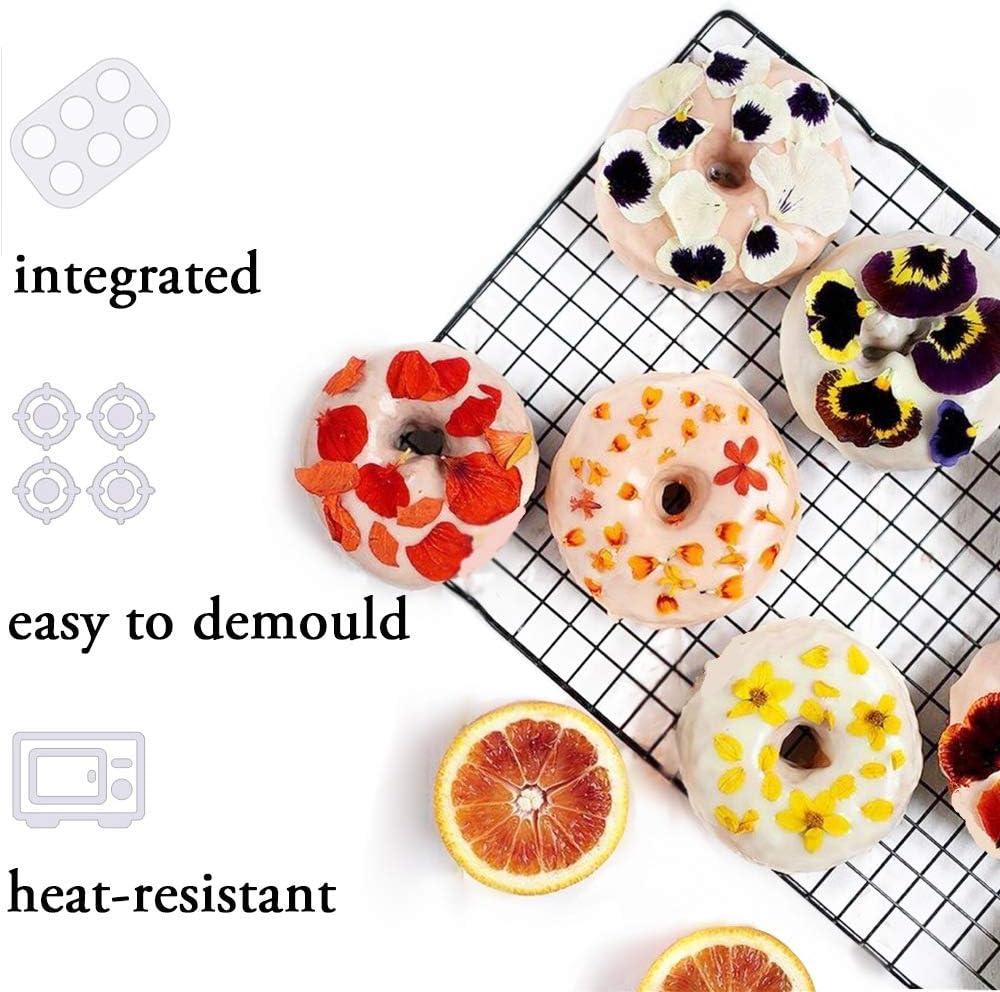 Donut Moldes de Silicona y Molde Gofres Silicona Antiadherente Molde de Silicona Molde en Forma de Coraz/ón Cocina Herramientas Moldes para Hacer Galletas Pasteles Bagels Tarta Muffin