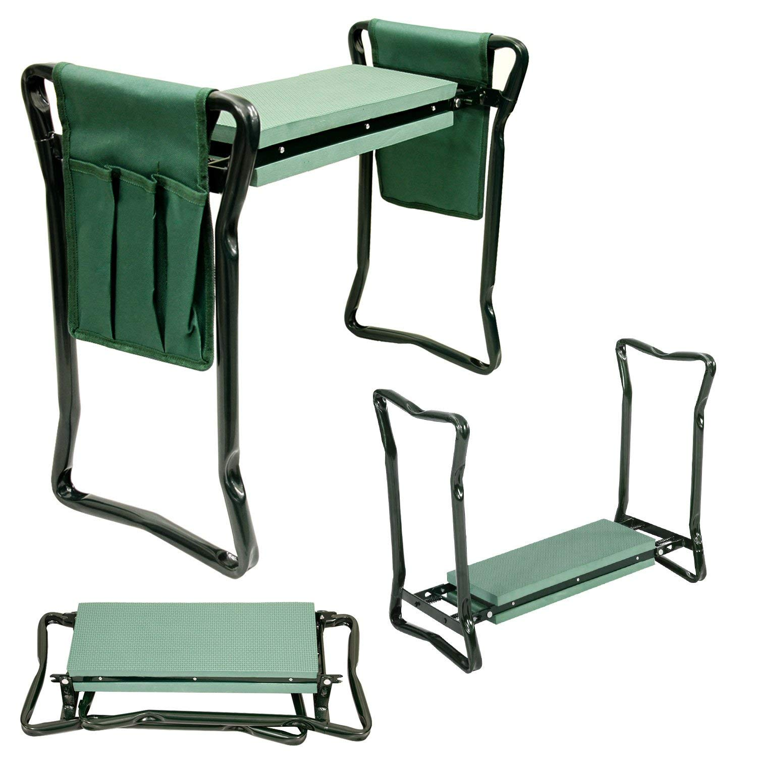 U.S. Garden Supply Foldable Garden Kneeler and Seat with 2 Tool Pouches – Soft EVA Foam Knee Pad Cushion – Portable Folding Stool Bench Chair