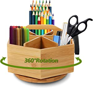 Marbrasse Bamboo Art Supply Desk Organizer, Rotating Pencil Holder with 6 Compartments, Hold 400+ Pencils, Office Supplies Desktop Storage Caddy, Like Colored Pencils, Pen, Markers, Paint Brushes