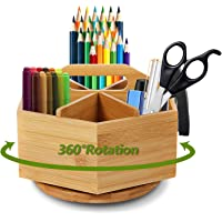 Marbrasse Bamboo Art Supply Desk Organizer, Rotating Pencil Holder with 6 Compartments, Hold 400+ Pencils, Office…