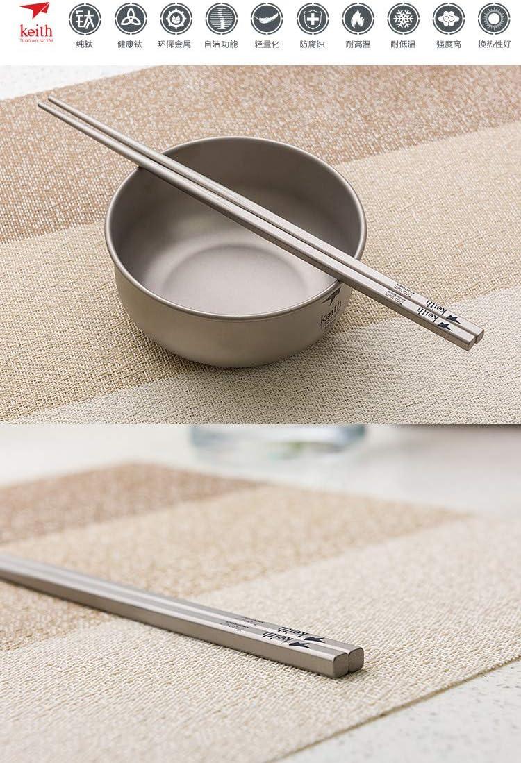Blue Keith Titanium Ti5633 Solid Square Handle Chopsticks with Aluminum Case