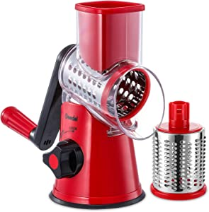 Geedel Rotary Cheese Grater, Kitchen Mandoline Grater with 2 Drum Blades, Easy to Clean Rotary Grater Cheese Shredder for Fruit, Vegetables, Nuts