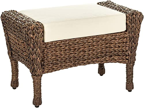 W Unlimited Outdoor Faux Sea Grass Garden Patio Ottoman Furniture Set, Brown