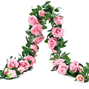 PARTY JOY 6.5Ft Artificial Rose Vine Silk Flower Garland Hanging Baskets Plants Home Outdoor Wedding Arch Garden Wall Decor,2PCS (Dark Pink)