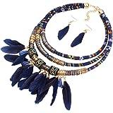 YAZILIND 18K Vogue Tissu Résine Feather Pendant Choker Collar Déclaration de Collier Femme boucles d'oreilles