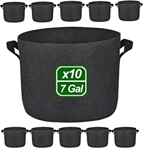 10 Pack 10 Gallon Premium Grow Bags, Heavy Duty Nonwoven Fabric Plants Pots with Handles, Indoor & Outdoor Grow Containers for Vegetables and Fruits