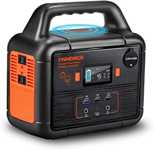 FNNEMGE 300W Portable Power Station (350W Peak), 266Wh Solar Outdoor Generator, 72000mAh 60W PD Power Bank with Dual 110V AC Outlets 12V/10A DC Out, Pure Sine Wave, Battery Power Supply for Camping