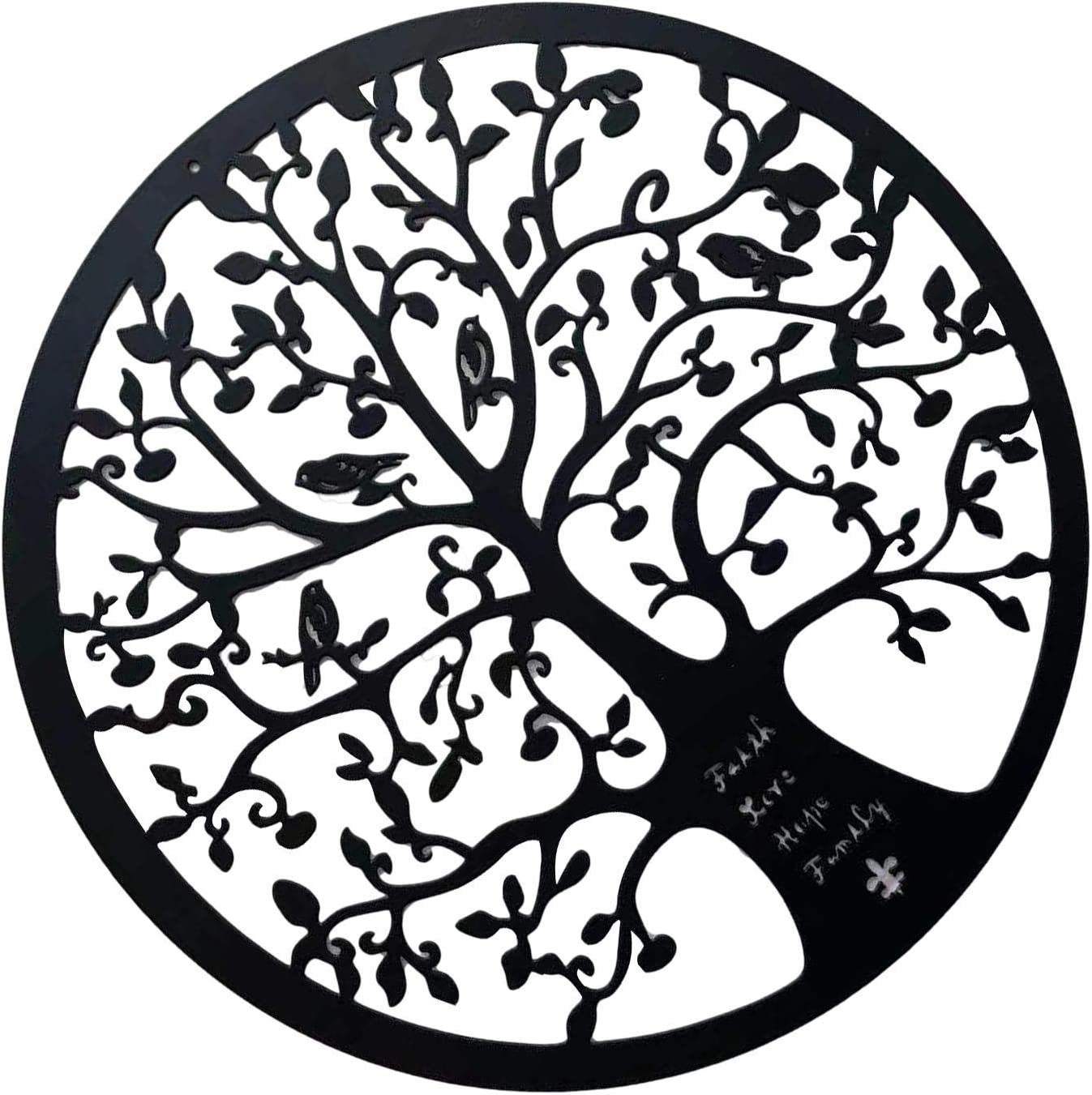 Garden Figurines, Tree of Life Metal Wall Art Wall Hangings 3D Art Lily Interior Wall Silhouette Sculpture Hand Painted Home Office Decoration Bedroom Living Room Decor 28cm Agreeable ( Color : A )