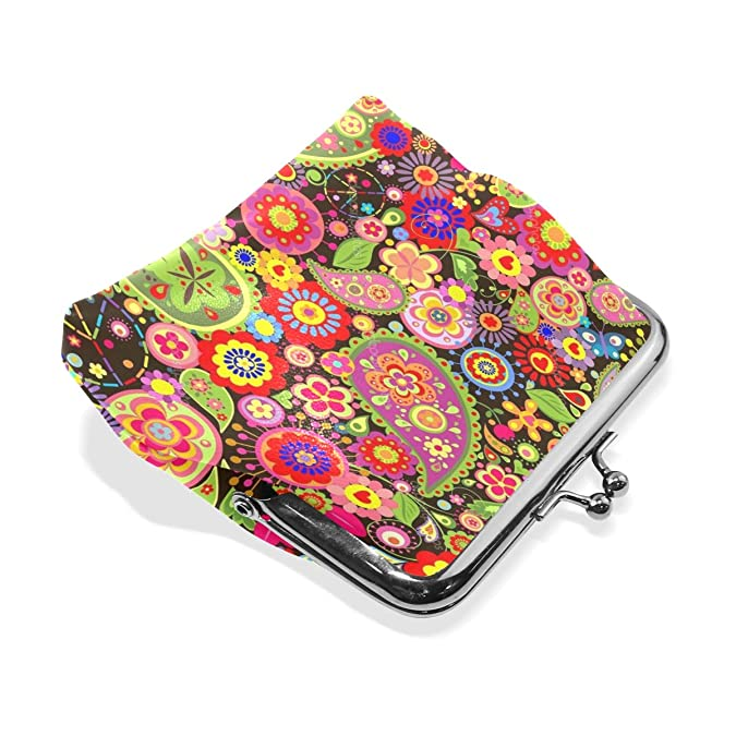 Amazon.com: Coin Purse Hippie Flower Womens Wallet Clutch ...