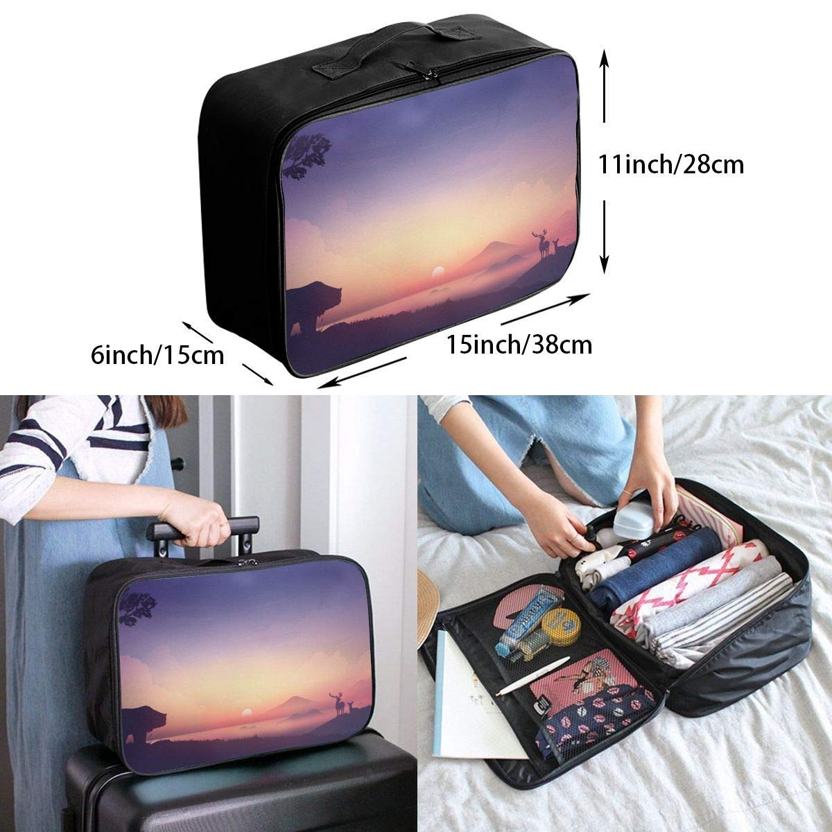 JTRVW Luggage Bags for Travel Lightweight Large Capacity Portable Duffel Bag for Men /& Women Sunset Bear And Deers Travel Duffel Bag Backpack