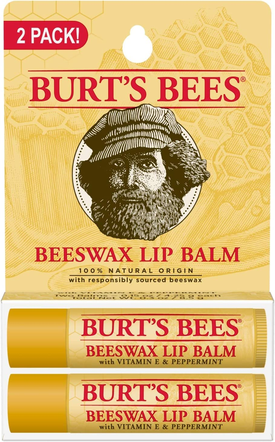 Burts Bees 100% Natural Lip Balm, Beeswax, 0.3 Ounce, 2 Count by Burts Bees: Amazon.es: Belleza
