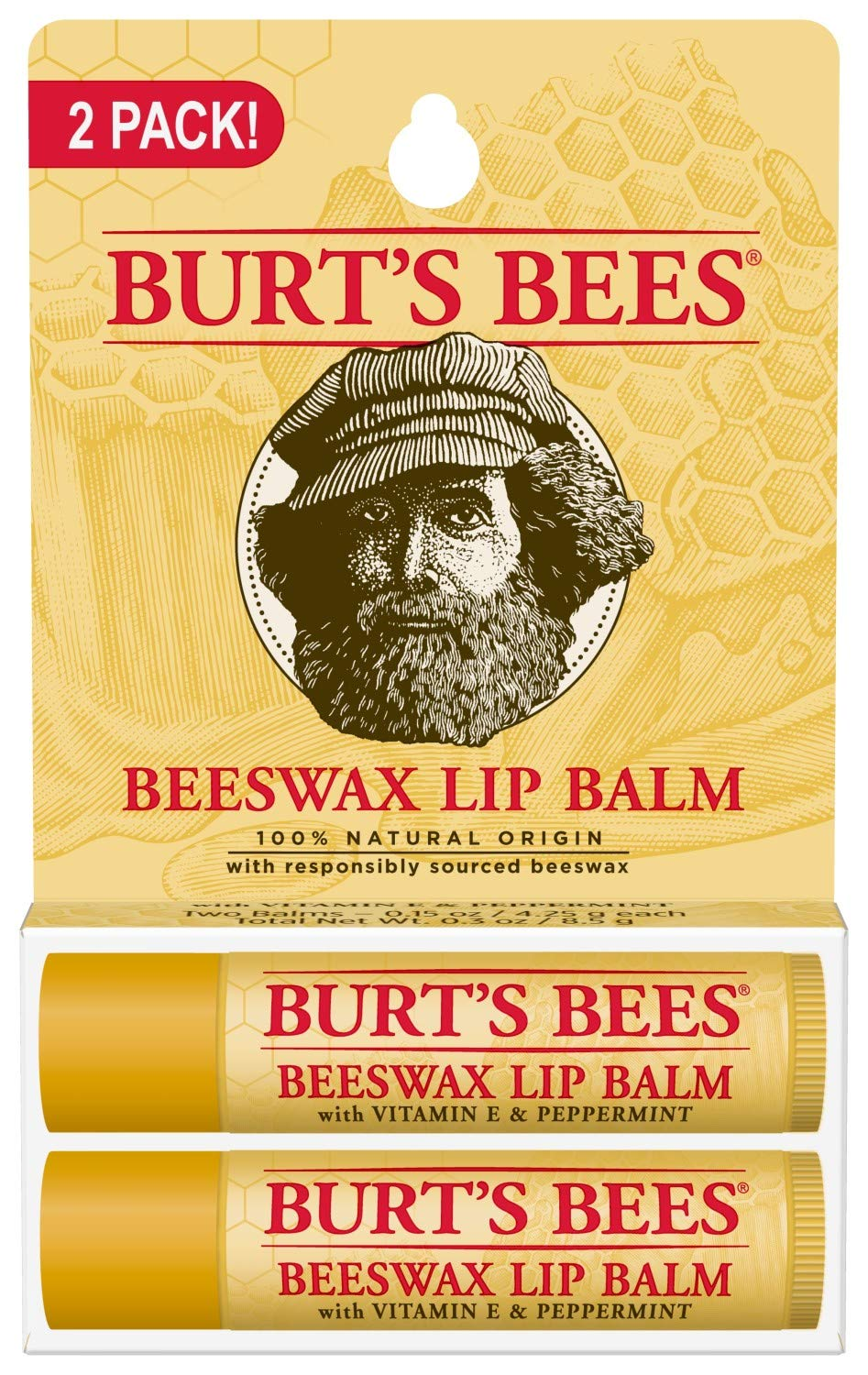 Burts Bees 100% Natural Origin Moisturizing Lip Balm, Beeswax, 2 Tubes in Blister Box (10792850776996) : Lip Balms And Moisturizers : Beauty