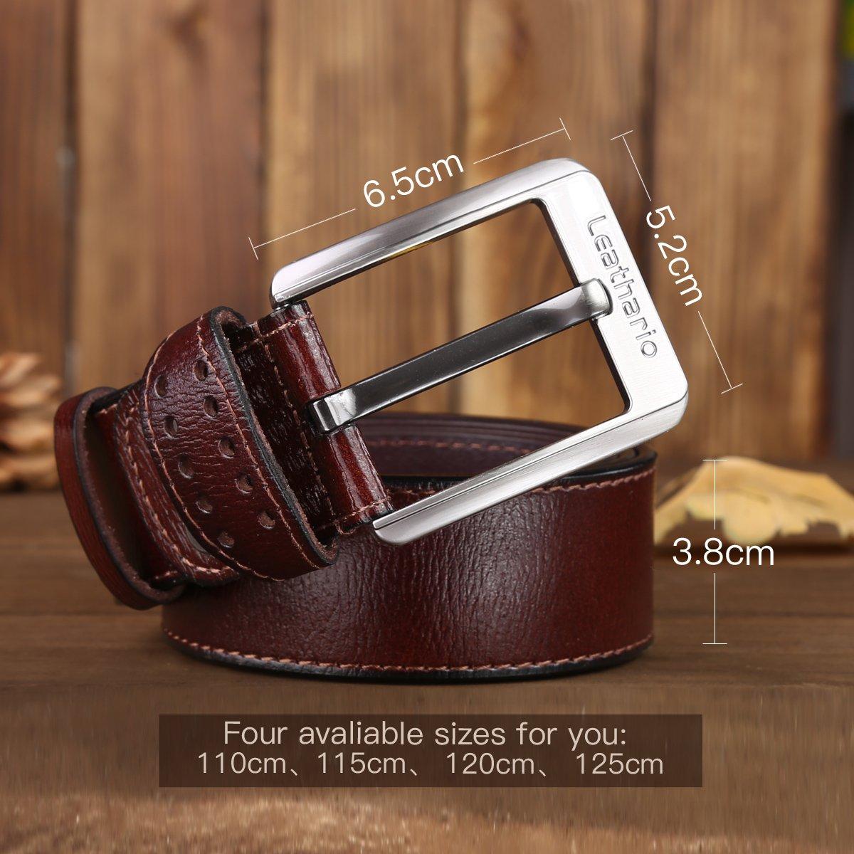 Leathario ceinture en cuir unisexe ceintures cuir veritale pour hommes  ceintures de boucles fixation de aiguille en couleur cafe  Amazon.fr   Vêtements et ... eee5eddac52
