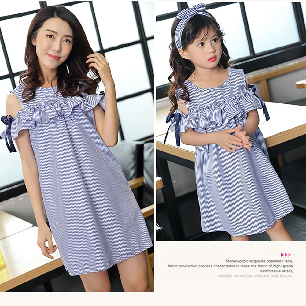 Robasiom Little Girls Dress Cotton Casual Short Sleeve Skirt for Summer Parenting Family Dress by Eden Babe (Image #6)