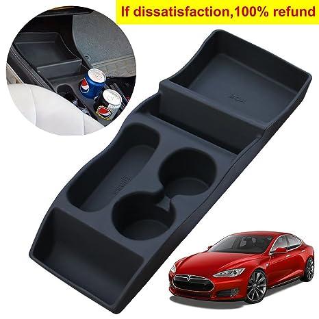 Portátil de silicona Tesla Model S contenedor de consola central con portavasos, consola central insertar
