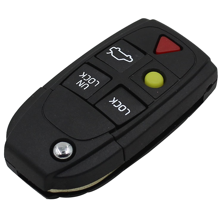 Keyfobworld Keyless Remote Key Case 5 BUTTON KEY FOB CASE /& FLIP BLADE VOLVO S80 S60 V70 XC70 XC90 VOLVO 2004-2011