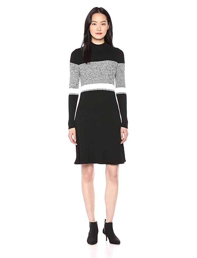 1def55aa457 Calvin Klein Women's Long Sleeve Striped Sweater Dress